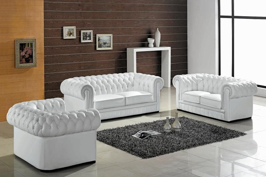 Divani Casa Paris Transitional Tufted Leather Sofa Set Vig