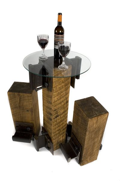 Cafe Table Made From Railroad Ties Cool Outdoor Option Would Be To Use A Diffe Top Surface