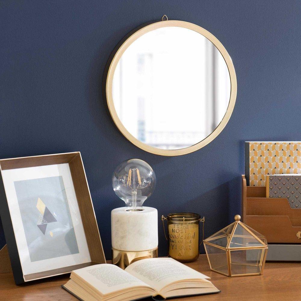 Runder Spiegel aus Metall goldfarben D 31 cm CLYDE | gäste wc ...