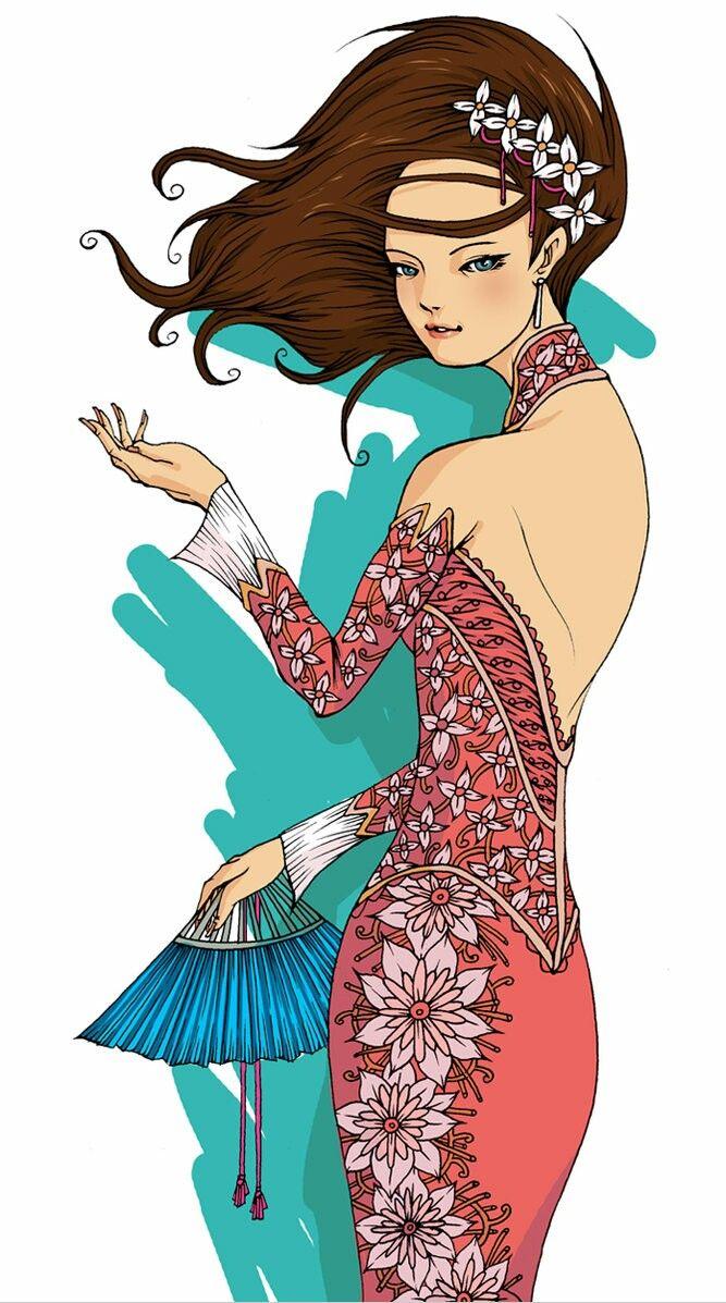 Kebaya Beuatiful Girl Black Hair Traditional Outfit Fan Pink Color Ilustrasi Karakter Animasi Batik