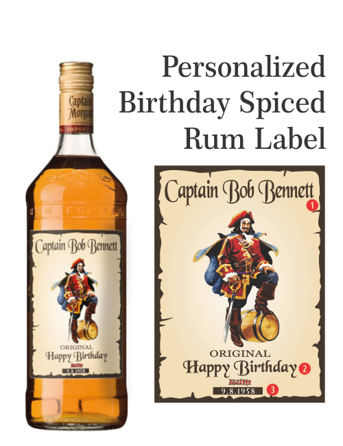 Personalized Rum Label Captain Morgan Style Drink Up