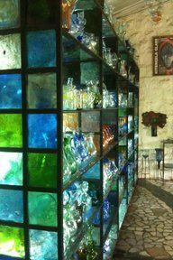 Lighted Color Glass Blocks As The Framework For Shelveswhat A Fantastic Idea