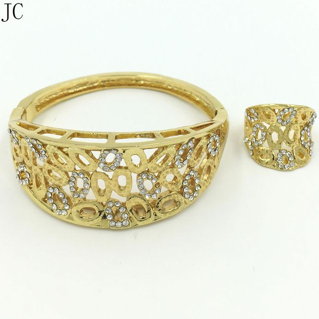 NEW DESIGN good quality dubai gold jewelry sets 24K bangle ring sets