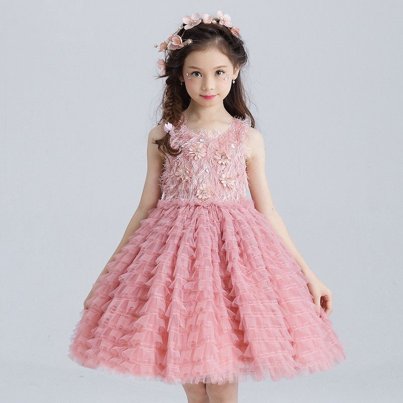 Layered Girls Dress Party Wear Girls Clothes Flower Girl Vestido for ...