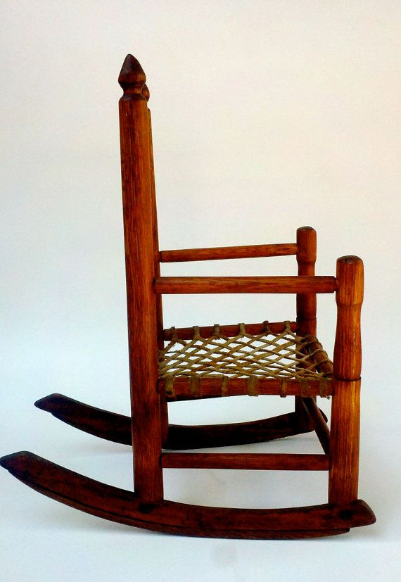 Childu0027s Antique Rocker Mission Oak With Original Woven Leather Seat