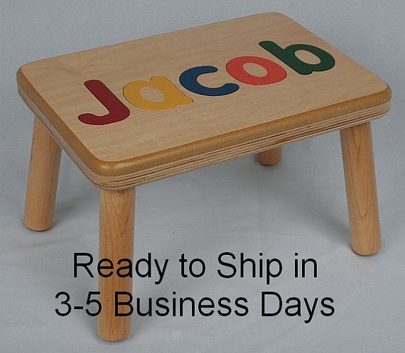 Name Puzzle Step Stool Bench Birthday Gift Wood