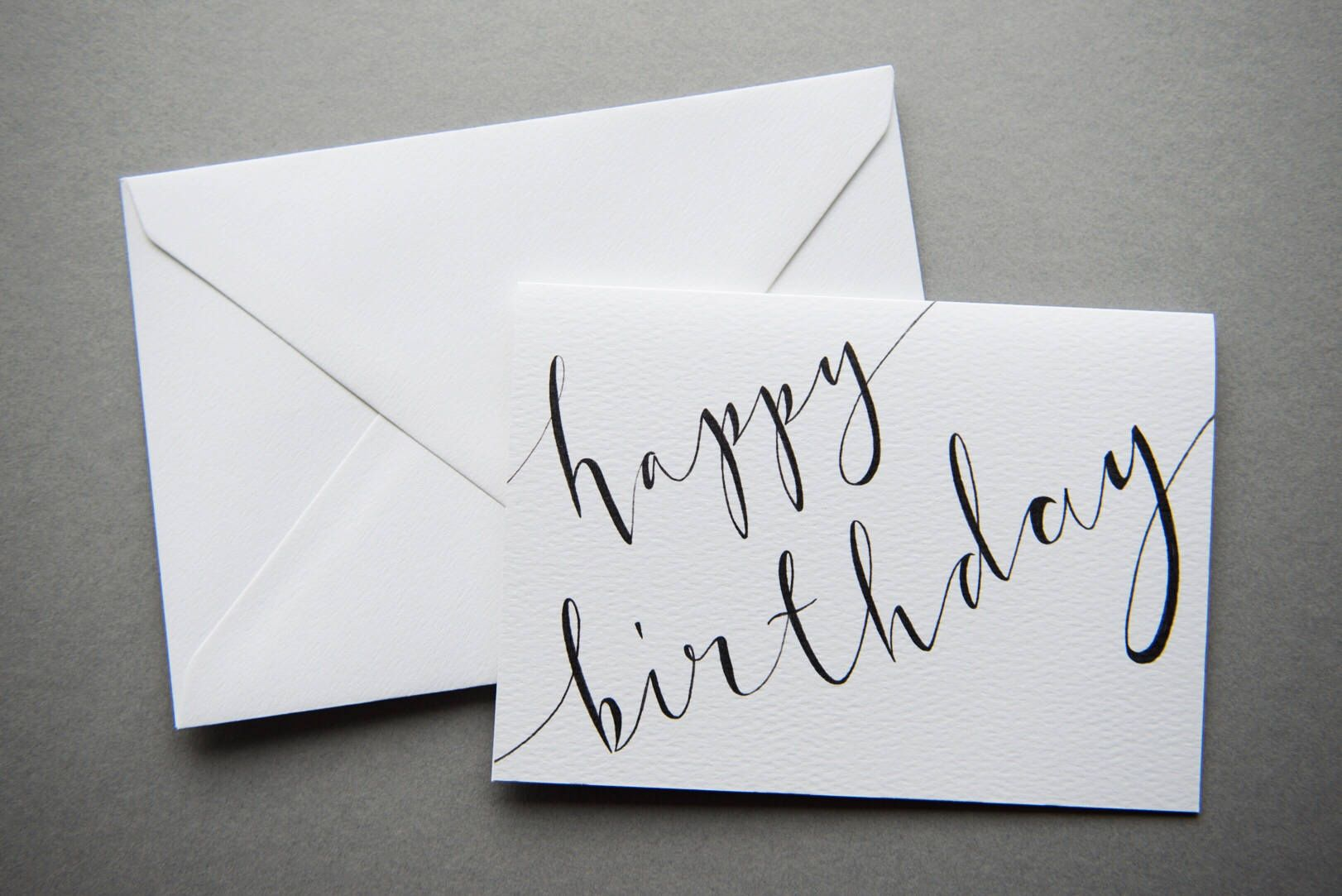 Happy Birthday Card A6 Charity Calligraphy Card Black White