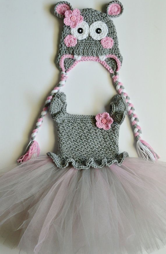 0cf752dc683 Crochet Hippo Costume Baby Tulle Tutu Dress with by CubbyCreations ...