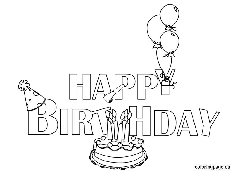 Happy Birthday Coloring Page Parties Pinterest