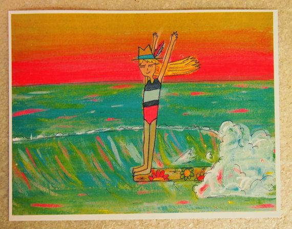 Hang 10 Retro Surfer Girl 5 X 7 Print By Surfybirdy On Etsy Beach Art Festival Indie Craft Local Art