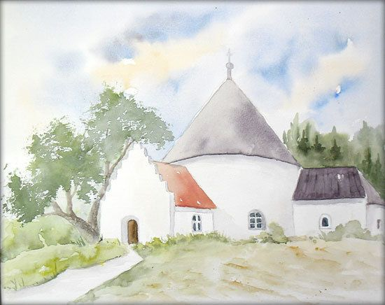 rundkirche in d nemark aquarell 24 x 30 cm original landschaft meer pinterest. Black Bedroom Furniture Sets. Home Design Ideas