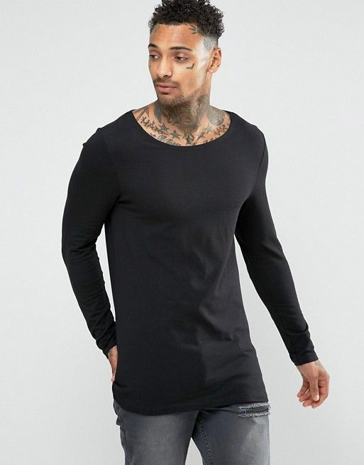 ASOS Longline Muscle Long Sleeve T-Shirt With Boat Neck In Black at asos.com