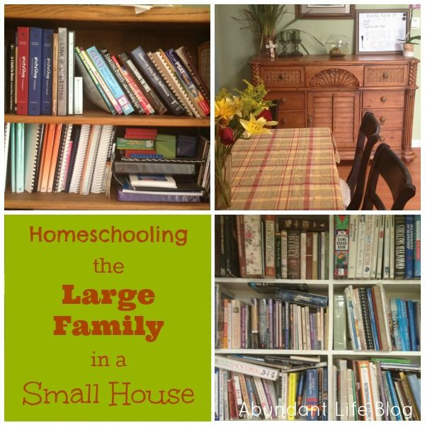 Homeschooling The Large Family In A Small House Homeschool Homeschool Room Organization Homeschool Organization