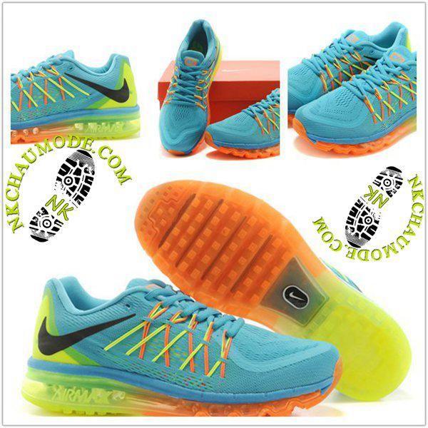 separation shoes 41644 f20b9 Tendance   Nike Chaussure Sport Air Max 2015 Femme Bleu Clair Orange Jaune