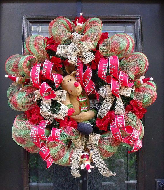 winter mesh wreaths | Christmas Wreath, Christmas Deco Mesh Wreath, Christmas Wreaths ...