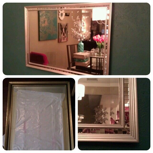 An Old Mirror I Got For Free And Updated For Less Than 20 Used Small Mirrors For Edging From Michaels Michaels Crafts Store Old Mirrors Home Decor