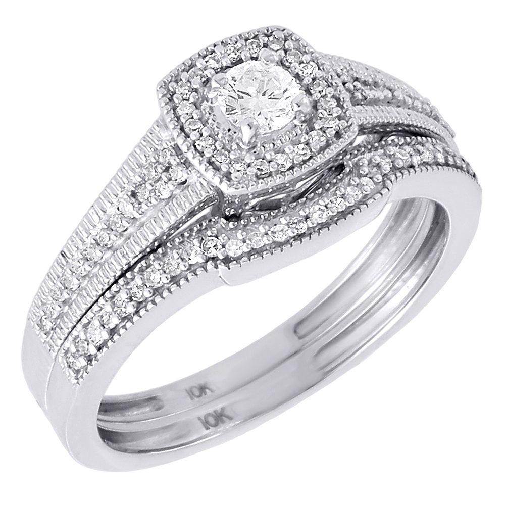 Diamond Solitaire Bridal Set Ladies 10K White Gold Round
