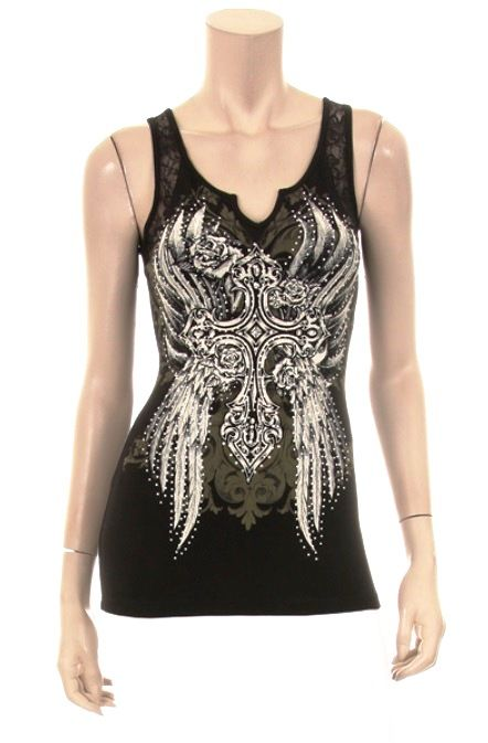 579ca1056bd04 You can never have too many tank tops filled with rhinestones and bling.  This rhinestone tank top with angel wing cross design and lace straps will  very ...