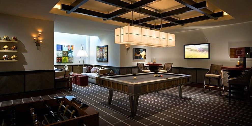 Pool Table Light Fixture Family Room Contemporary With Accent Ceiling Billiards Brown Carpet Desert