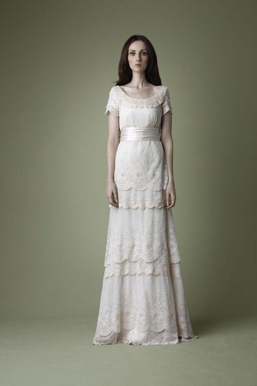 3 Tiered Lace Wedding Dress : S edwardian style cream tiered lace wedding dress
