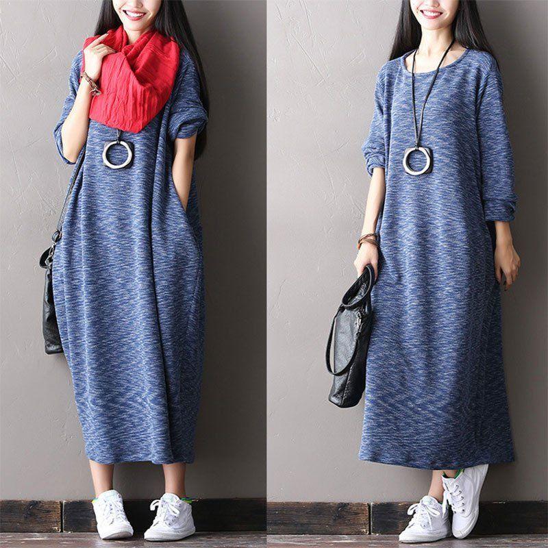 Blue Stretch Cotton Knit Dress