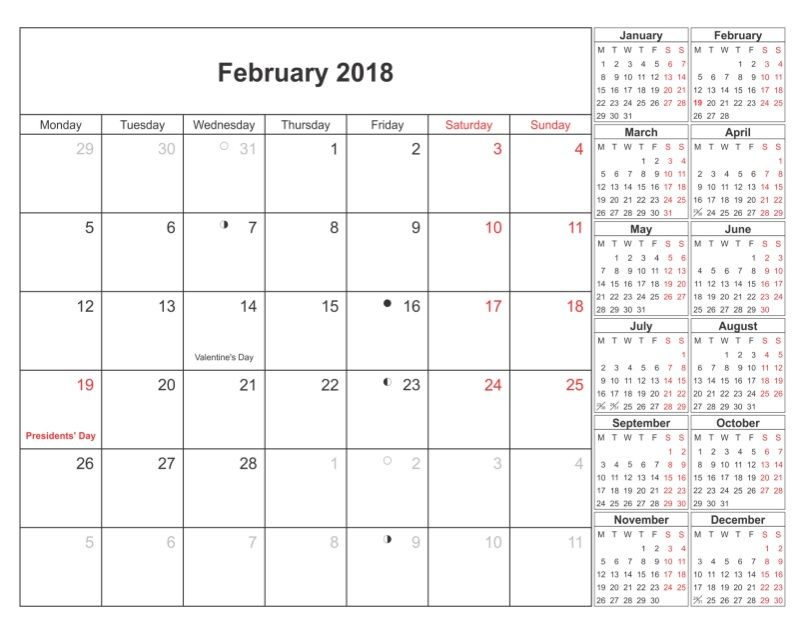 February Month 2018 Printable Calendar Calendar Pinterest - printable calendars