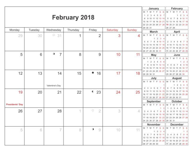 February Month  Printable Calendar  Calendar