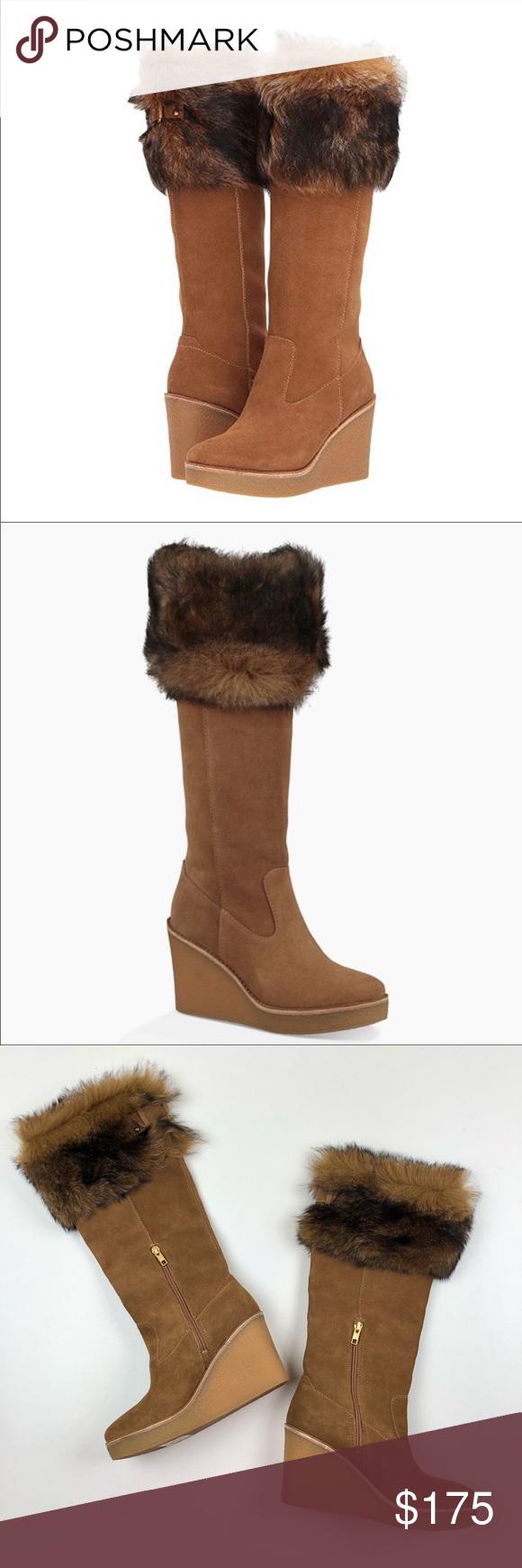 NEW UGG Valberg Suede Fur Wedge Knee