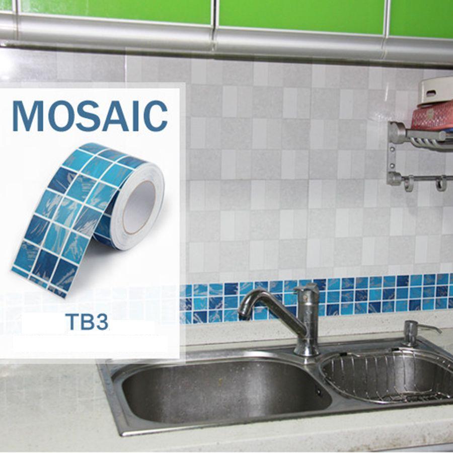 5m Waist Line Wall Sticker Kitchen Bathroom Toilet Borders Waterproof Self Adhesive Wallpaper Border Mosaic
