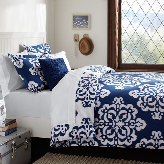 Ikat Medallion Duvet Cover Sham Pbteen Royal Navy
