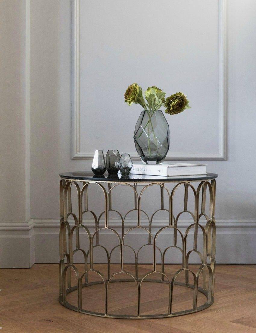 Gilda Brass Black Glass Drum Coffee Table Stylish Living Rooms