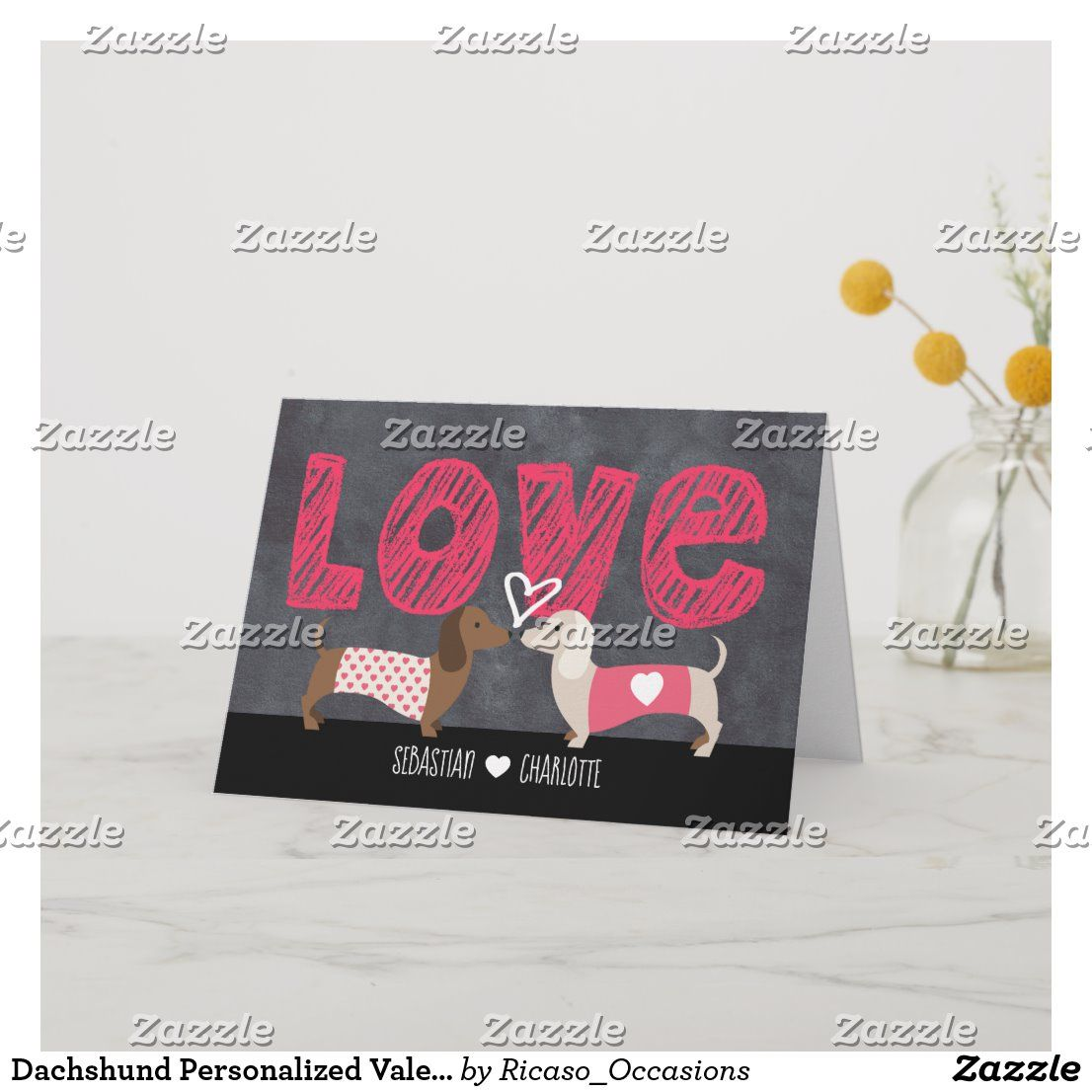 Dachshund personalized valentines day holiday card