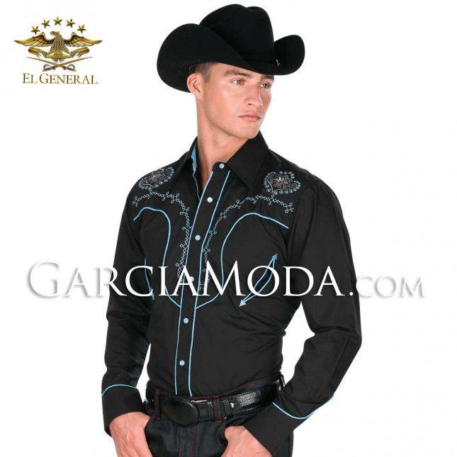 El General Cowboy Shirt Long Sleeve Camisa Vaquera Satin Orange