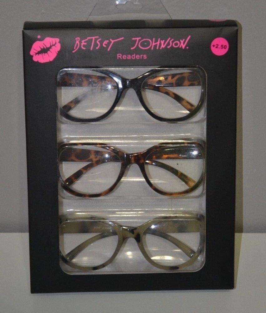 BETSEY JOHNSON Three PAIRS READING GLASSES READERS 3 COLOR +2.5 NEW #BETSEYJOHNSON