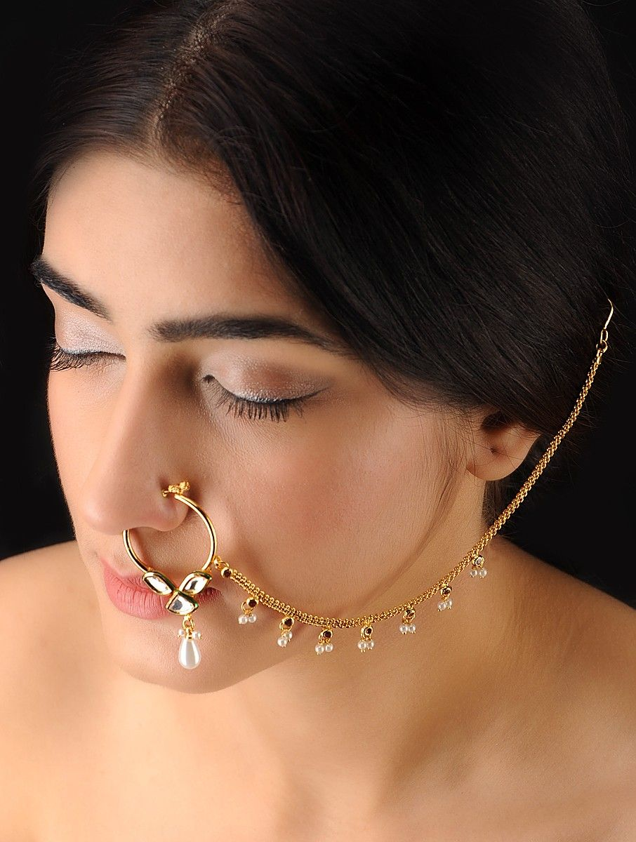 Buy Classic Gold-Ivory Nose Ring Online | Wedding jewelry, Ivory ...