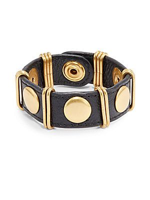 Pebbled Leather Buckle Bracelet