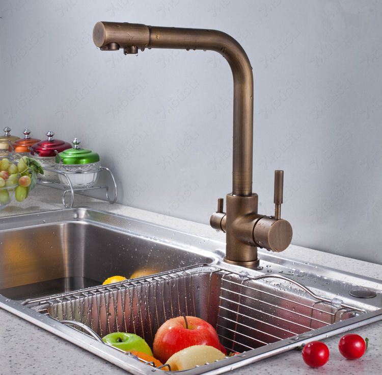 Free Shipping Classic Brushed Bronze Dual Handle 3 Way Kitchen Sink Mixer Faucet 2 Outlet Drinking Water Tap Kitchen Handles Kitchen Taps Antique Kitchen