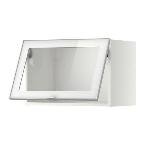 METOD Armario de pared abatible vidrio, blanco, Jutis vidrio ... | {Vorratsschrank küche ikea 41}