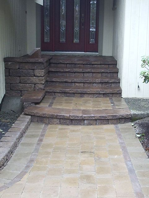 Paver Walkway Stair To Porch Around The House Patio