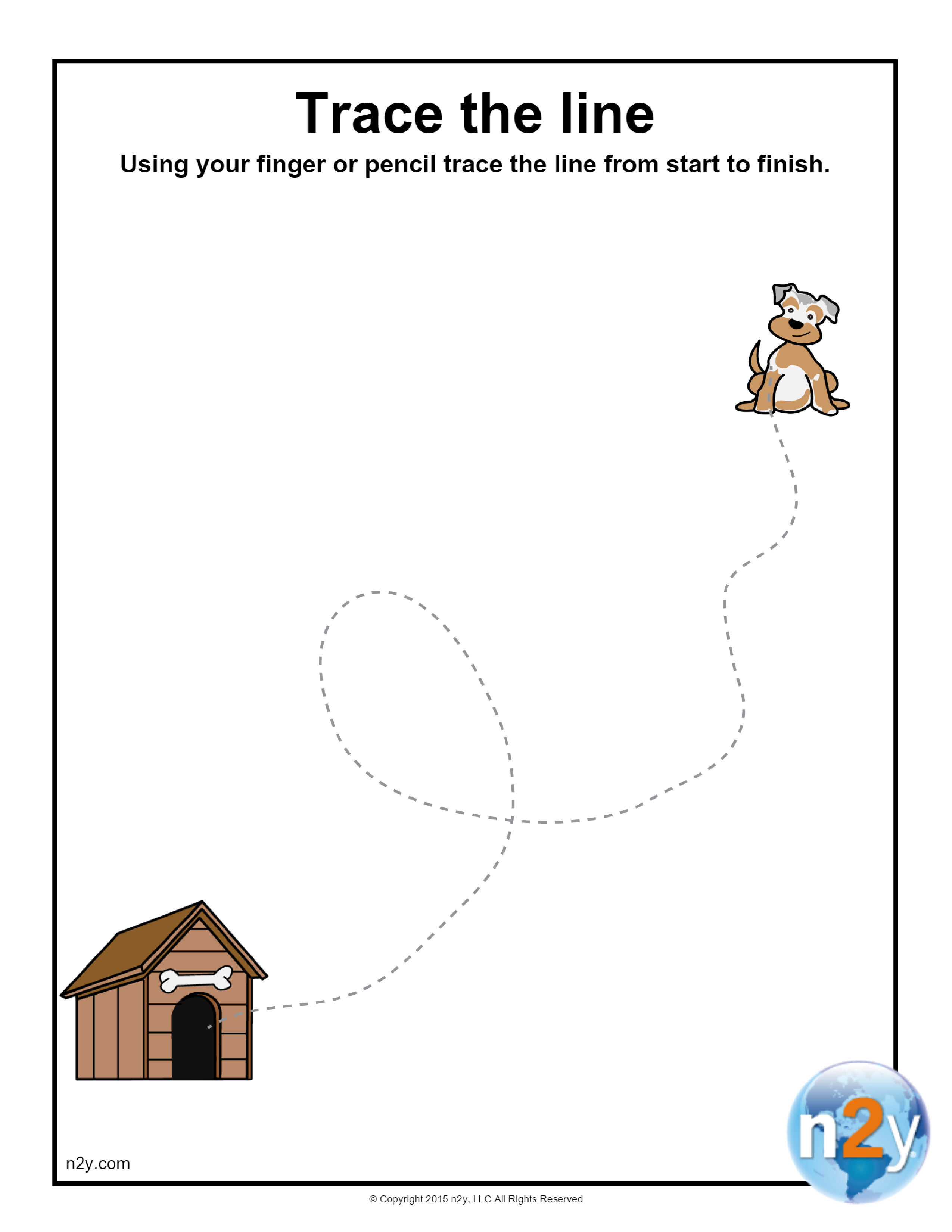 Help The Puppy Find His Dog House By Tracing The Line