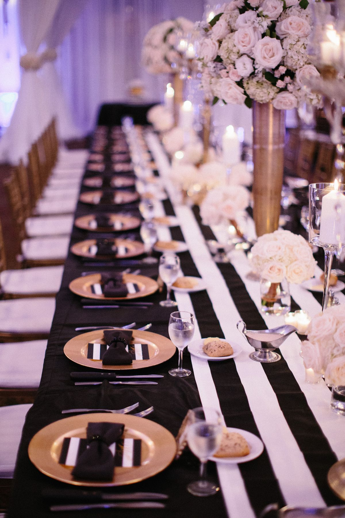 black wedding reception food ideas%0A black and white striped head table runner with bow tie tuxedo napkins and  gold chargers     Wedding Reception CenterpiecesBallroom Wedding ReceptionDiy