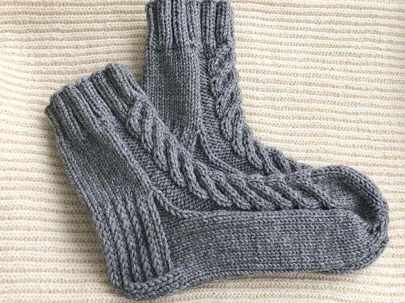 Gray knit socks for women Knit men socks Adult knit wool socks Bulky socks  Chunky socks Bed sock Gra 76b4ac7553