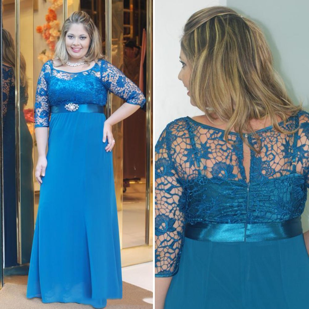 Click to buy ucuc chic blue plus size prom dresses with sleeves empire