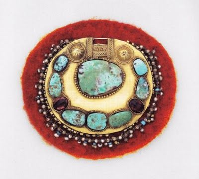 copper or alpacca jar brooch with glass beads