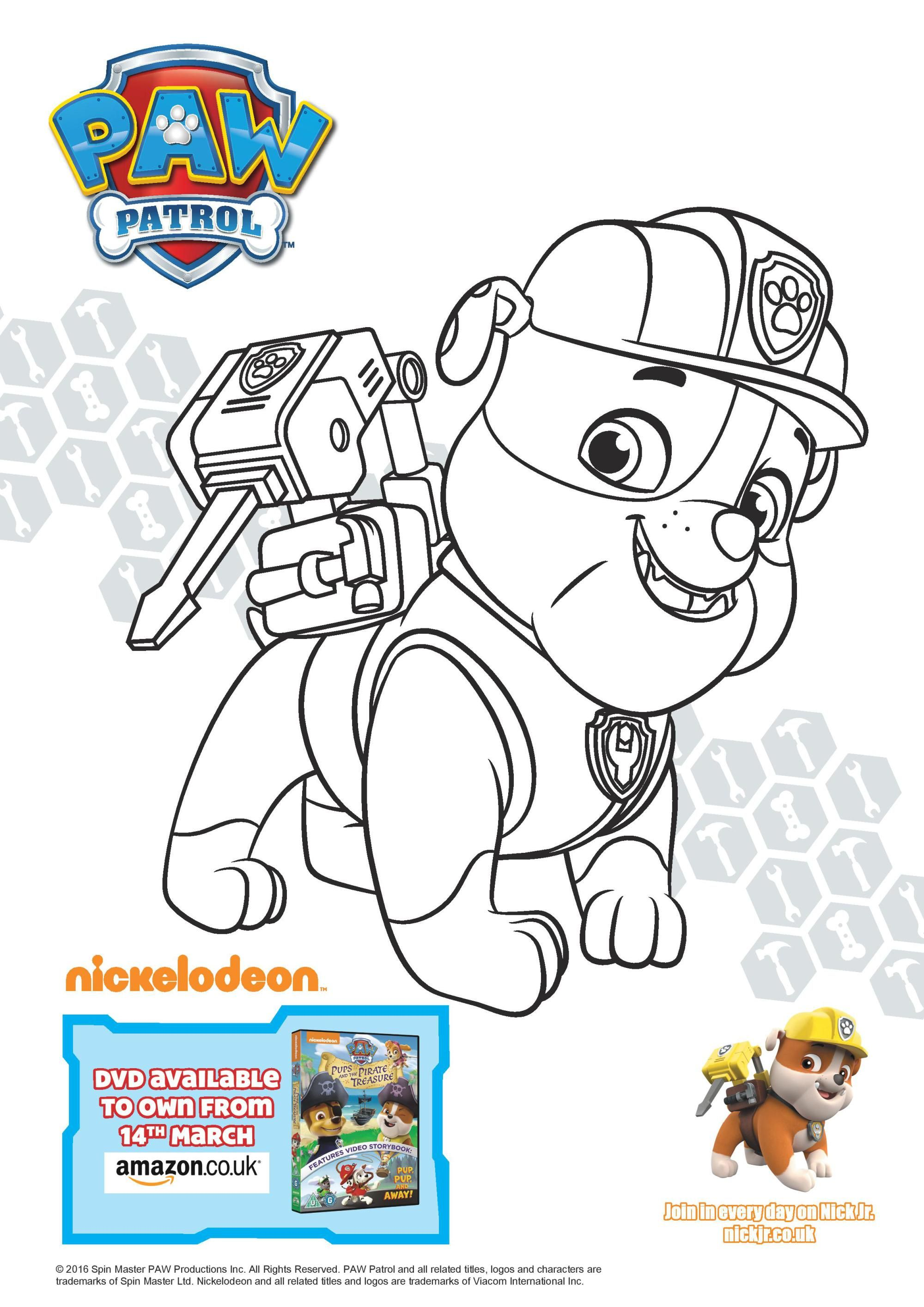Paw Patrol Pups and the Pirate Treasure Colouring Page Printables ...