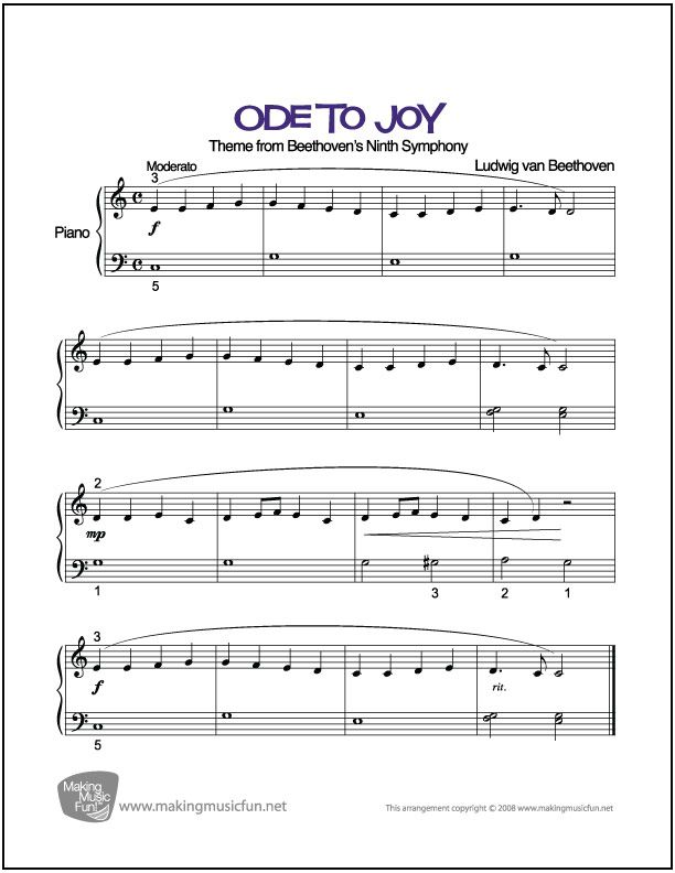 Ode to Joy (Beethoven) | Sheet Music for Easy Piano (Digital Print ...