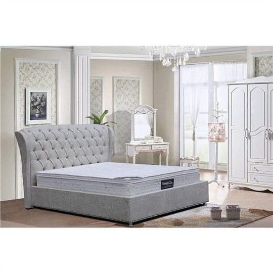 Lauren Fabric Upholstered King Bed Light Grey Beds