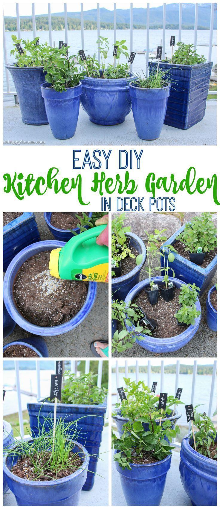 Easy DIY Kitchen Herb Garden in Deck Pots | Kitchen herb gardens ...