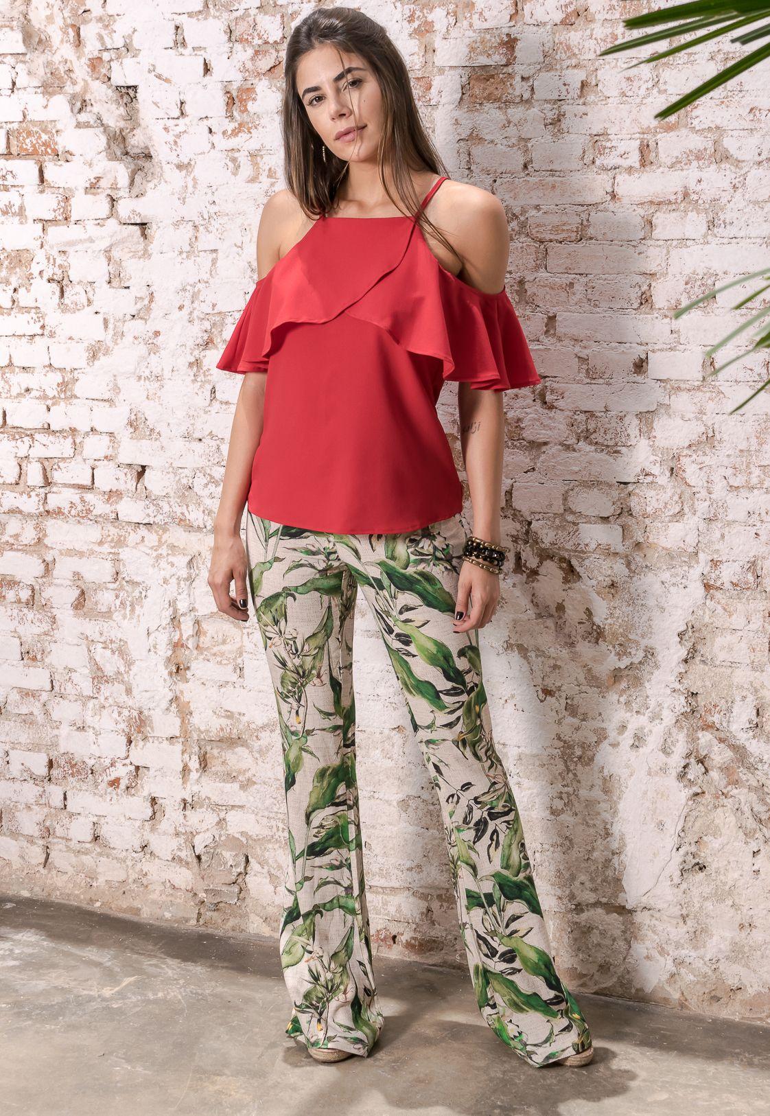 #debrummodas #verão #coleção #calça #floral #blusa #openshoulder #modafeminina #moda #style #estilo #fashion