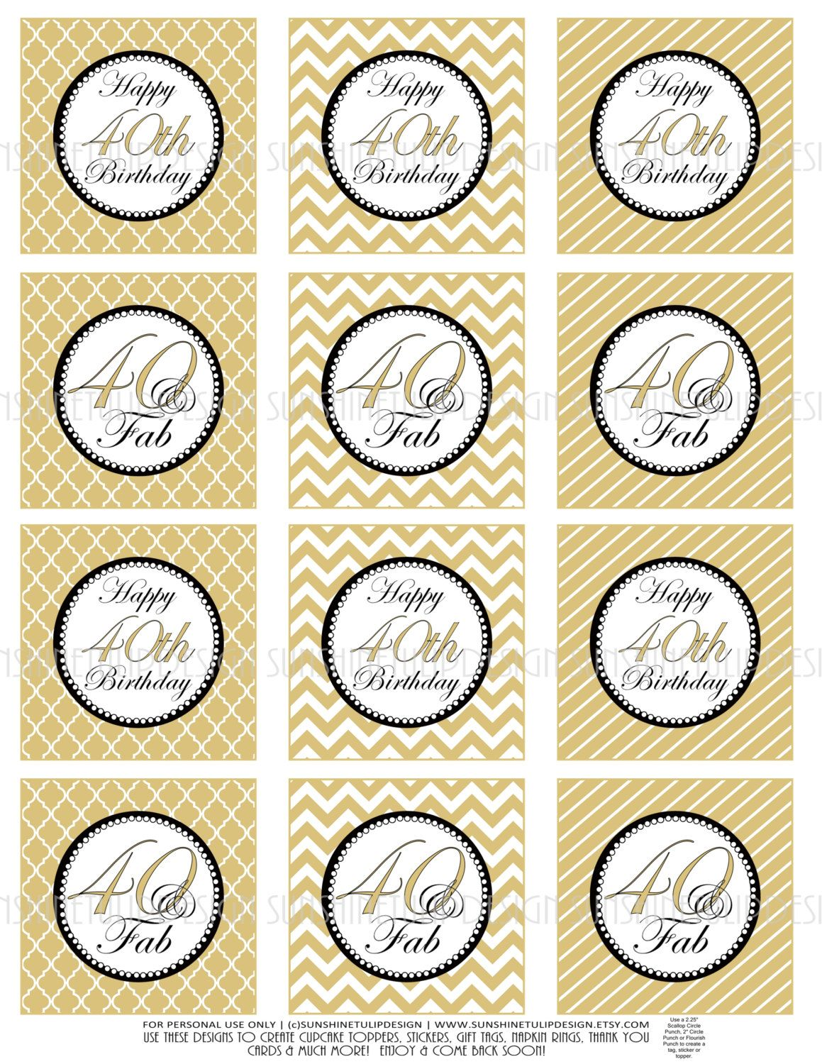 Printable 40th Birthday Gold and Black DIY Cupcake toppers Sticker ...
